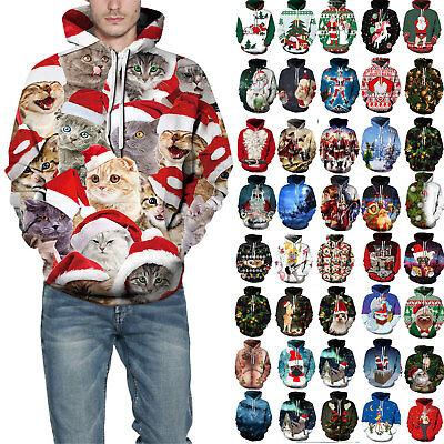 3D Xmas Hoodie Mens Women Hooded Sweatshirt Ugly Christmas Sweater Top Plus Size