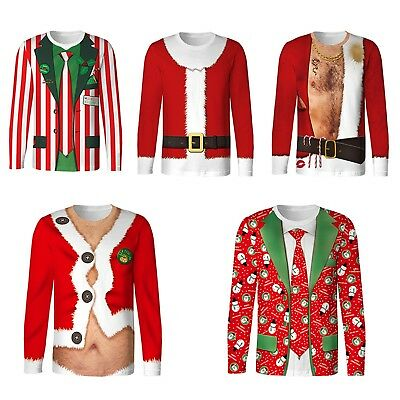 Unisex Men Womens Santa Xmas Christmas Novelty Ugly Top Sweater Blouse Tee Shirt