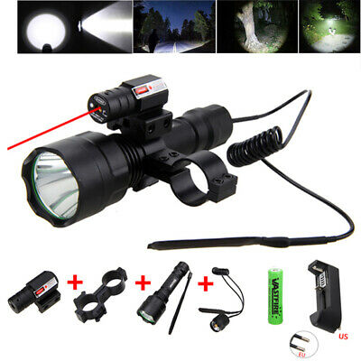 5000LM White LED Light T6 Tactical Red Laser Picatinny Mount 18650 for Gun Rifle