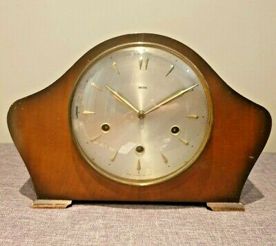 Antique 1930's Smiths Oak Mantel Clock Floating Balance Mechanism (Vintage Time)