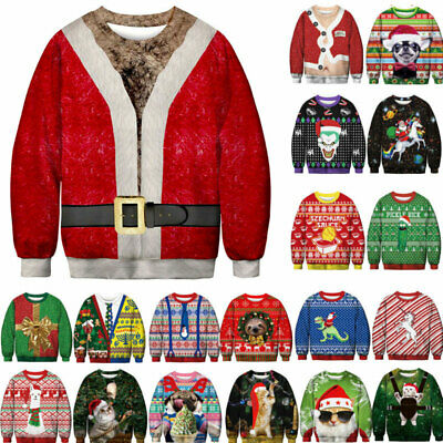 Ugly Christmas Sweater Santa Women Men Xmas Jumper Sweatshirt Winter Hoodie Tops