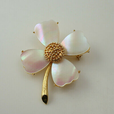 Vintage Mandle Mother of Pearl Petal Apple Blossom Gold Tone Pin Brooch