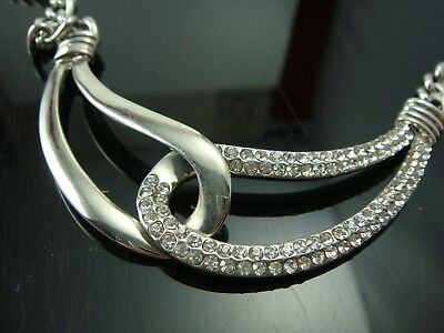 "Pave Silver Tone Rhinestone Connecting Loops Chain 20"" Adj Necklace"