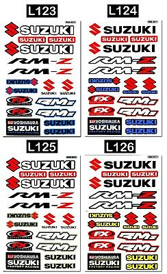 Graphic Set Suzuki Vinyl Decals Motocross Bike Helmet Logo