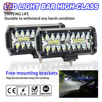 2X 7inch CREE LED Work Light Bar Spot Flood OffRoad Fog Driving For Car SUV