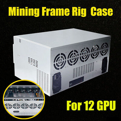 DIY Crypto Currency Open Air Mining Miner Frame Rig Case For 12 GPU ETH Ethereum