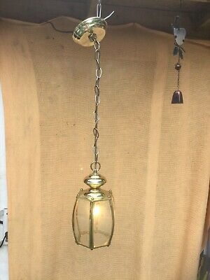Hexagon Brass Ceiling Light Pendant Antique Georgian Style with Bevelled Glass