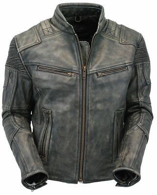 Men's Classic Cafe Racer Biker Style Distressed Black Motorcycle Leather Jacket