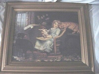 Gold Wooden Frame~Victorian GIRL Sitting in Chair w/her Doll, Dog, Cat & Book