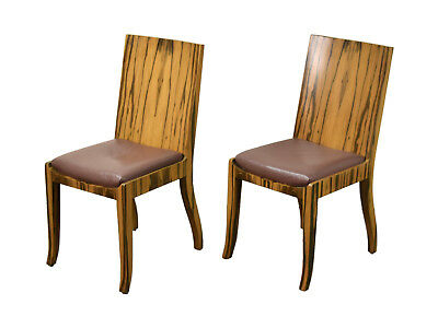 Pair Interior Crafts Art Deco Mid-Century Modern Style Rosewood Side Chairs