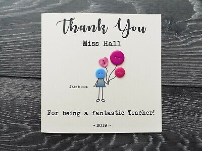 Handmade & Personalised Thank you Teacher  TA Card Boy Balloons. Any name text