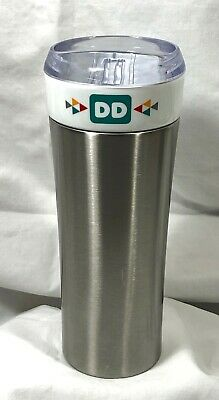 Dunkin Donuts Travel Mug Tumbler Stainless Steel & Ceramic Acrylic Top 16oz.