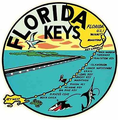 Florida KEYS  1950's Style  Vintage Travel Decal Sticker
