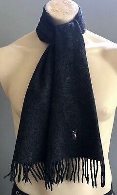 Mens POLO RALPH LAUREN Charcoal Grey Signature Logo Wool Scarf w Fringe Trim