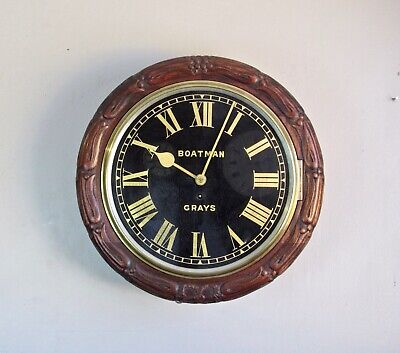 Rare 14 inch black dial mahogany English dial clock by Boatman Grays. Circa 1890