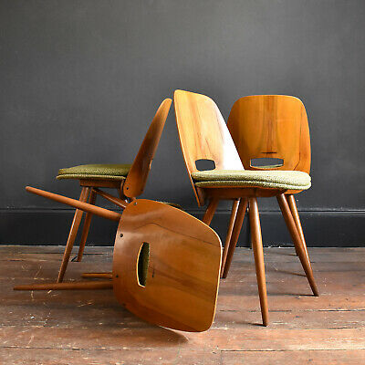Set of 4 Walnut Funkcionalist Dining Chairs by Mier - Mid Century Vintage Czech
