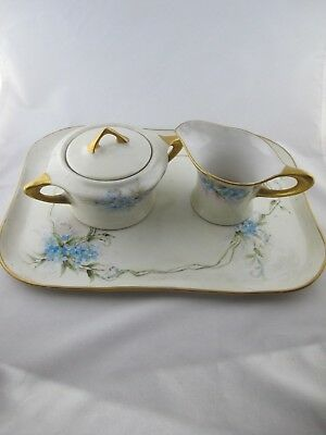 Serving Tray w/ Cream and Covered Sugar Signed AM Kendall '19 China Antique