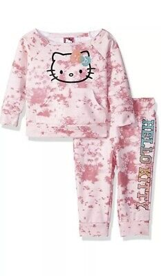 Hello kitty Girls Jogger Pants Set With Crew Neck Top Size 4T EUC