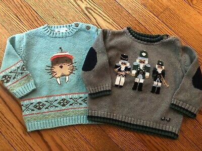 (2) Toddler Boy's JANIE & JACK Sweaters - Size 12-18 Months