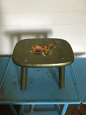 Small Vintage Wooden Milking Stool Plant Stand Step Stool Primitive Hand Painted