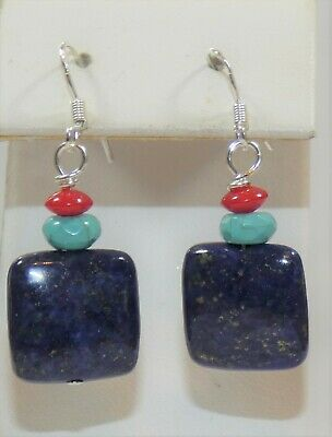 Carolina Sundance Genuine Lapis Turquoise Coral Earrings