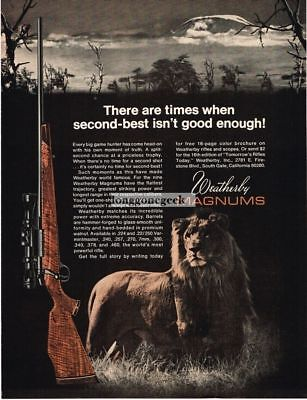 1970 WEATHERBY Magnum Rifle Male Lion Africa Savannah Vtg Print Ad