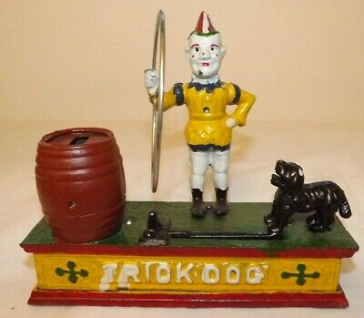 Vintage Cast Iron Trick Dog Bank Clown Hoop Lever Spring w/ Coin - Reproduction