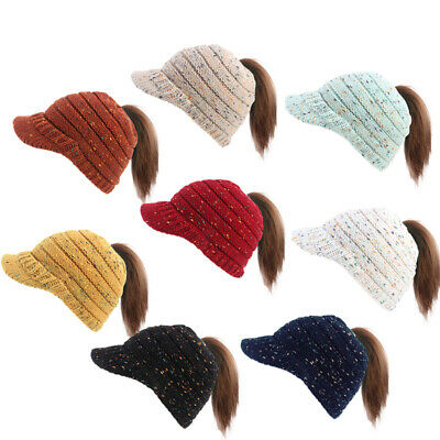 Womens Stretch Knit Hat Bun Ponytail Beanie Winter Warm Hole Hat Beauty Gifts