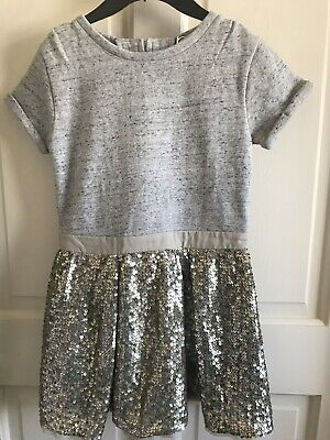 BNWOT Next Sequin Short Sleeve Dress. Grey/ Gold. Girls. Age 3 - 7 Years. Thick