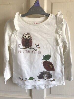 BNWOT Nutmeg Long Sleeve Top. Girls. Age 12 - 24 Months. Wildlife - Owl Design