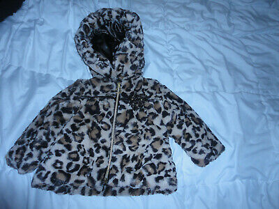 Bonnie Baby Girls Coral Fleece with Leopard Trim Coat and Hat Set
