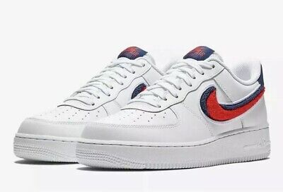 Nike Air Force 1 07 LV8 Low Chenille Swoosh Men's Size 12.5 White 823511-106