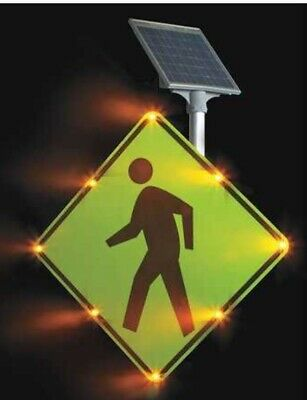 TAPCO 2180-00214 Blinkersign,W11-2,30,Ped Xing,DG3,FYG,AC Pedestrian Sign Safety