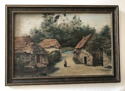 Late 19th/Early 20th Cent. European Village Genre Painting in Original Frame
