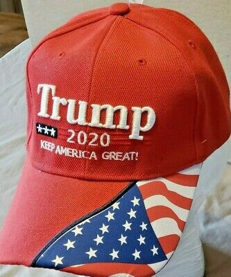 "Trump 2020""Keep America Great"" 3D Embroidery Flag ""45th President"" Cap Hat -Red"