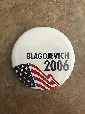 RARE Illinois Rod Blagojevich For Governor Button pinback 2006 w/ Flag