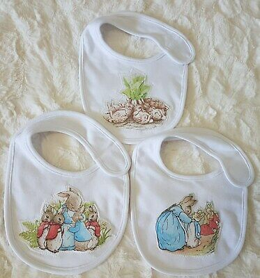 Peter Rabbit~Baby Bibs~Cotton Polyester~Set Of 3 Different