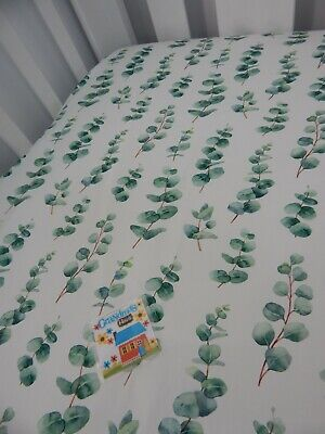 Cot Sheet Fitted Eucalyptus Leaves Pure Cotton Fits to 79 x 130cm mattress