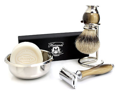 Men's Double Edge Safety Razor & Badger hair shaving brush Set