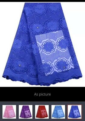 3 YaRds Nigerian French Tulle  African Lace Fabric For Party Dress(Royal Blue)