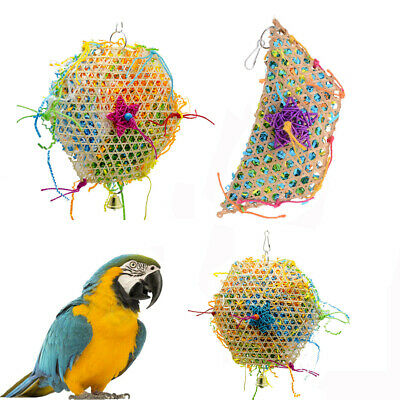 Colorful Parrot Bird Swing Cage Woven Grass Foraging Bite Chew Toy Strip Hanging