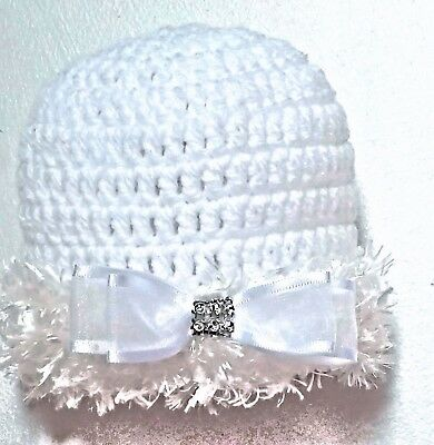 HAND CROCHETED WHITE BABY GIRLS HAT knit shower gift vintage romany bling bow