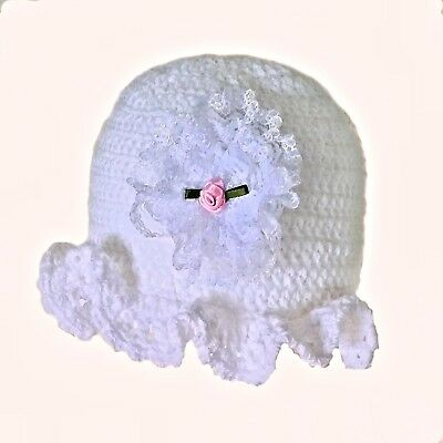HANDMADE CROCHETED WHITE REBORN DOLL HAT GIRL berenguer american tiny knit lace