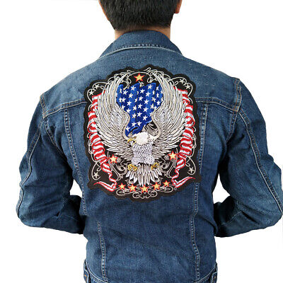 Italian Biker Motor Embroidered Iron On Patch Bald Eagle Motorcycle MC 237-K