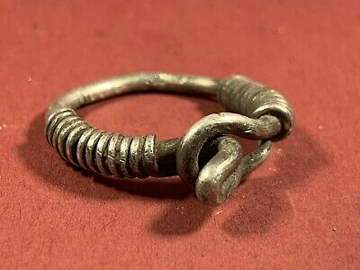 Very Rare Ancient Viking Norse Solid Silver Coiled Ring Circa. 800-900Ad