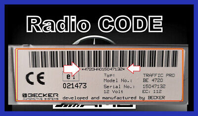 Radio Code  Becker Mercedes BE1100 BE1150 BE1492 BE1692 BE2210 BE2010 mehr...