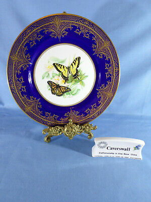Stunning Caverswall Cabinet Plate Signed Holmes Gray Butterflies Tiger Swallow