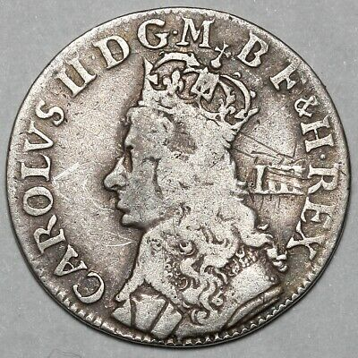 1660-1685 Charles Ii Great Britain Silver Groat Fourpence Four Pence 4D Coin