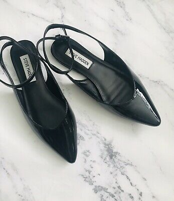 fc17914294dc0 Steve Madden Women's Size 7 CUPID Black Pointy Toe Ankle Strap Flats Patent