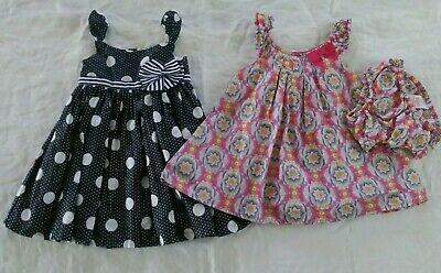 ef7af7eefac971 Lilly Wicket Baby Girl boutique Dresses size 6 9 months Sleeveless Navy blue
